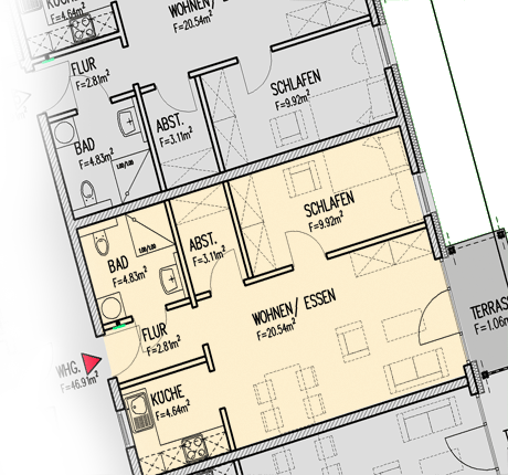 1-personen-apartment_grundriss